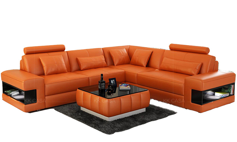 Sectional Fabric Leather Sofa Modern