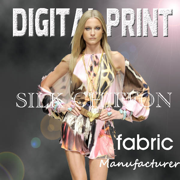 Printed Chiffon Fabric New Style Silk Touch for Lady Wear