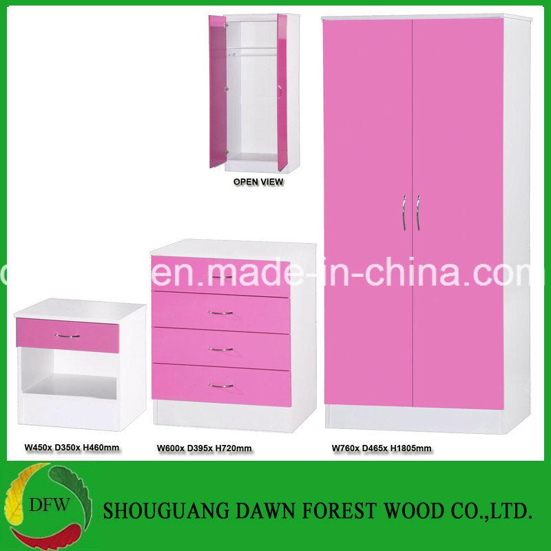 [Hot Item] Pink High Gloss & White 3 Piece Bedroom Set 2 Door Wardrobe  Chest Bedside