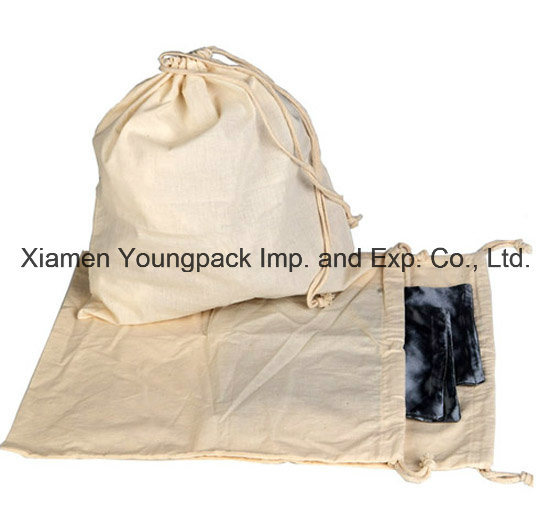 Promotional Customized 100% Natural Organic Cotton Drawstring Sack Bag