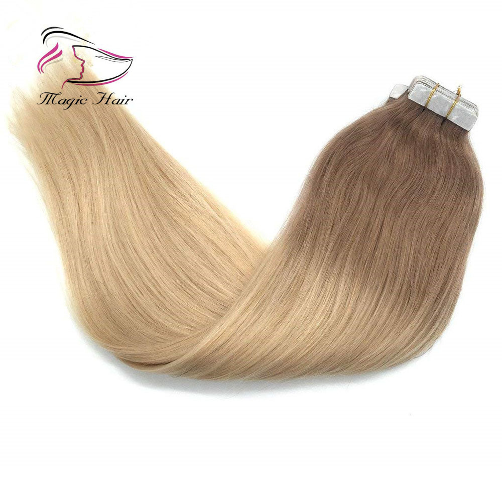 China Hair Extensions Tape In Light Brown To Bleach Blonde Straight