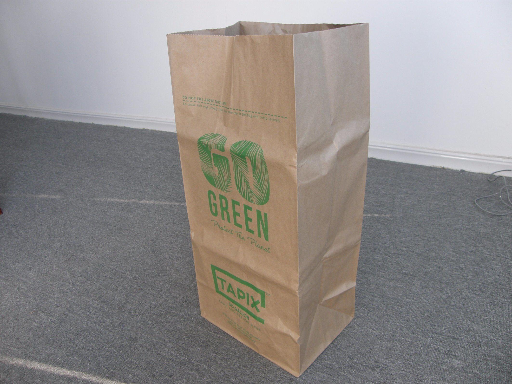 Waterproof Brown Paper Rubbish Trash Bags Large Bag Custom Lawn And Leaf Garbage