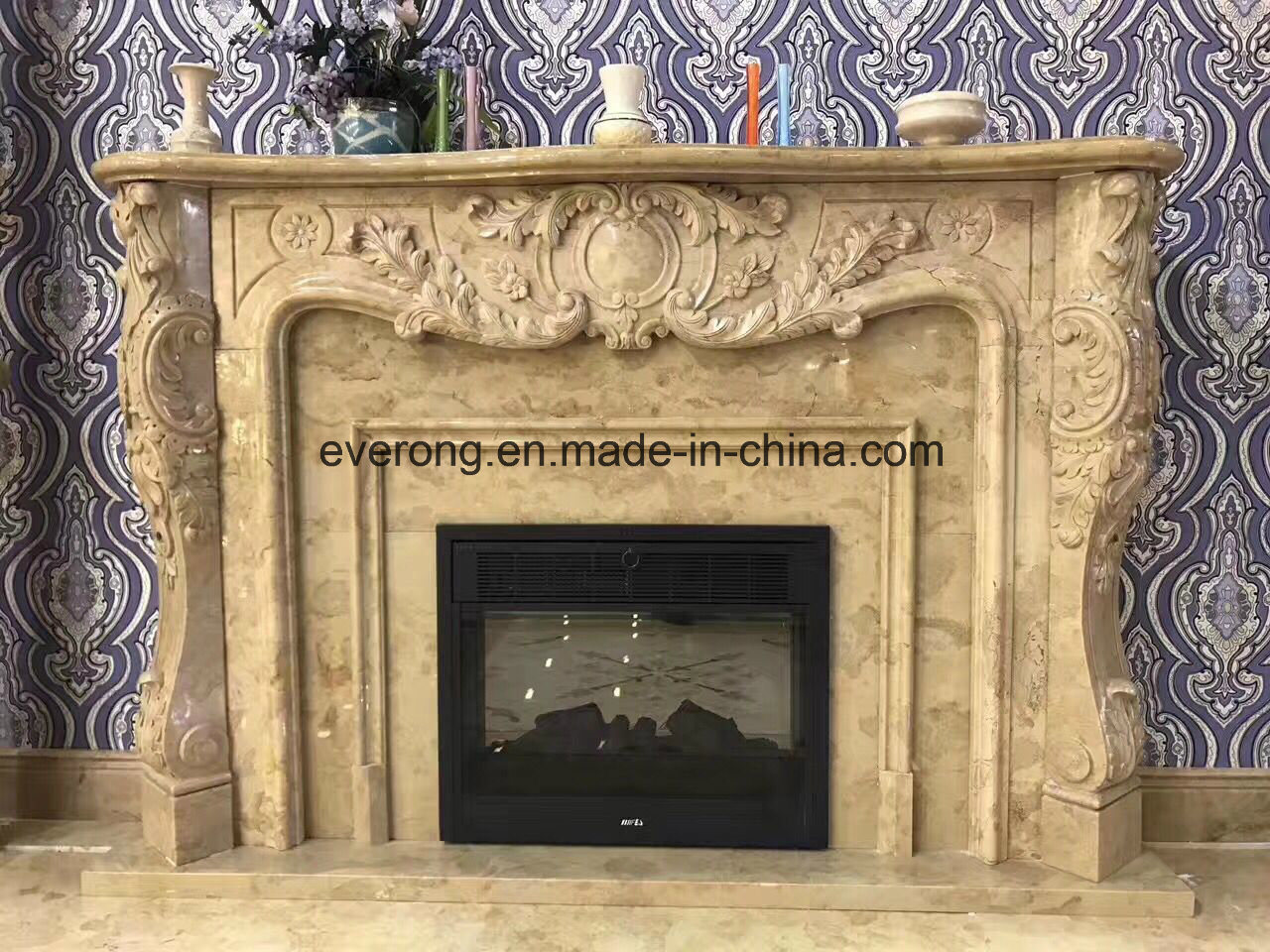 China Marble Carving Stone Sculpture Fireplace Surround Mantel