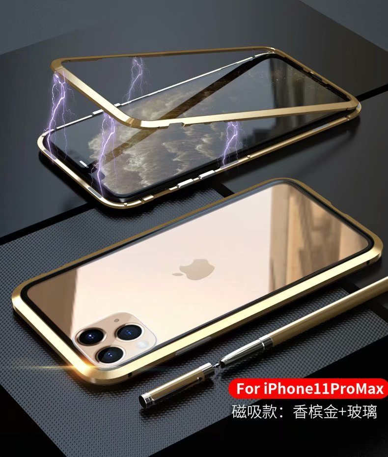 Top Selling Product Strong Magnetic Adsorption Metal Frame Hard Tempered Glass Case for iPhone11 Magnet Phone Cases pictures & photos