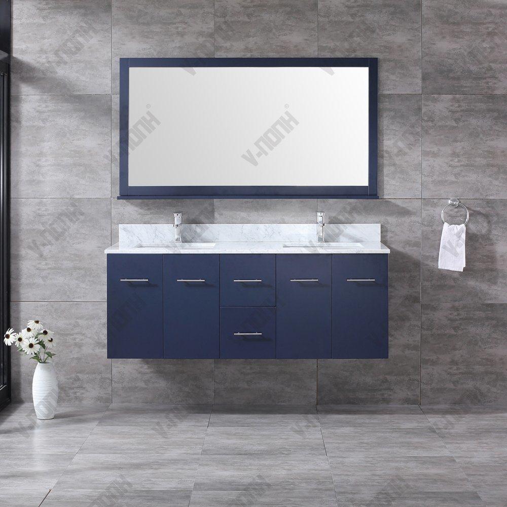 China 60inch Double Sinks Navy Blue Solid Wood Bathroom Vanity China Large Storage Hangzhou