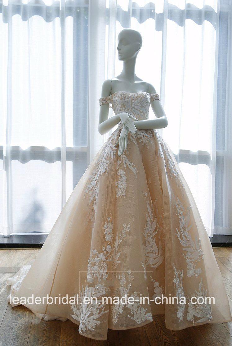 China Champagne Wedding Dress Off Shoulder A Line Lace Bridal
