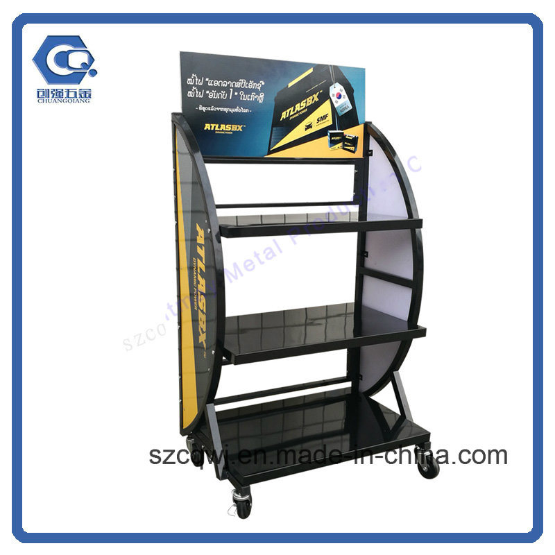 China Customized Metal Car Battery Display Stand With Wheels China Simple Car Battery Display Stands