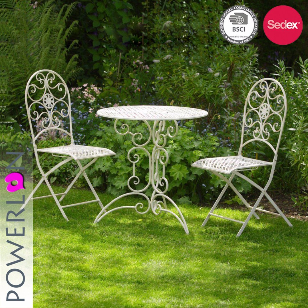 China 3pcs Wrought Iron Garden Table Chairs Bistro Set Leisure Furniture