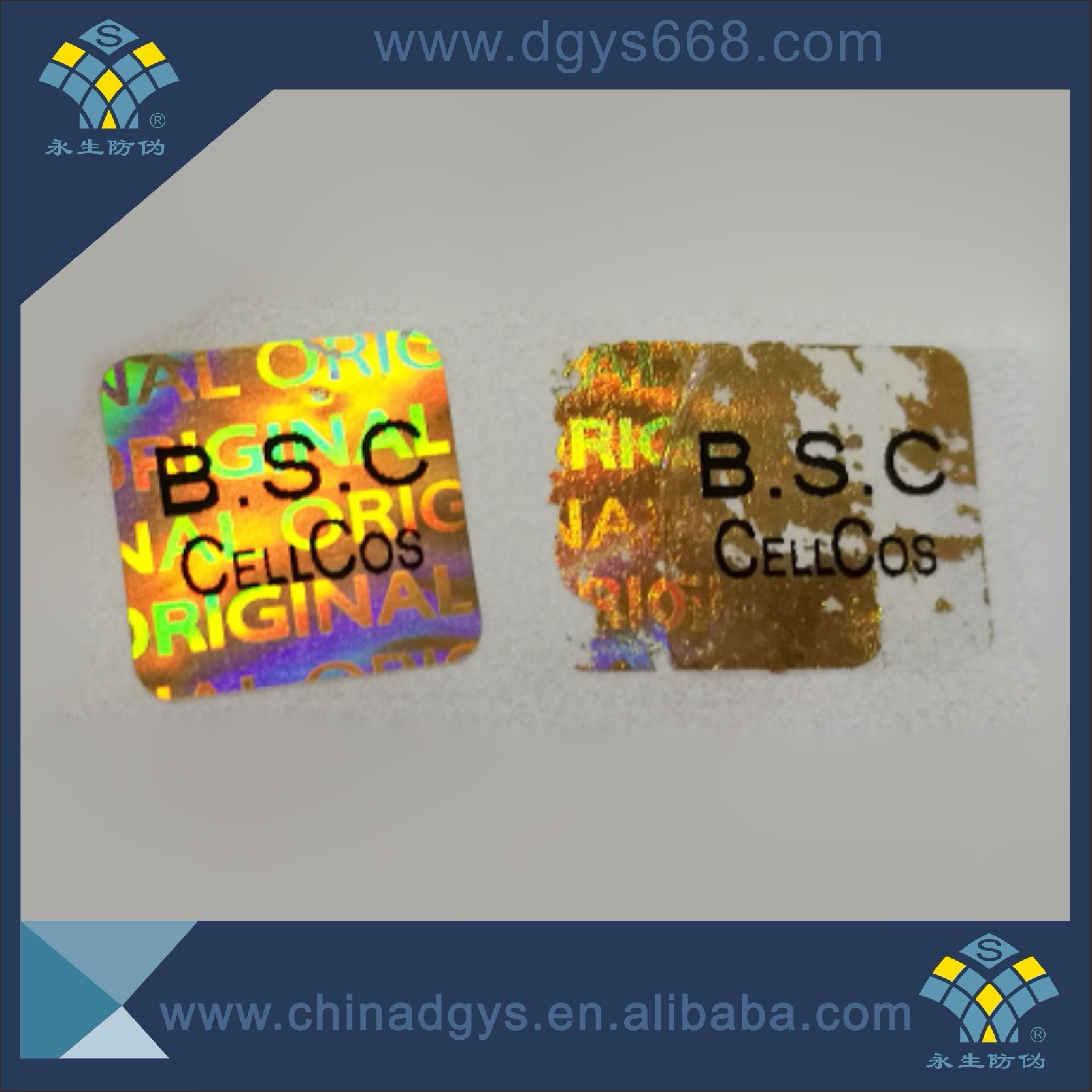 China easy destory hologram anti fake stickers labels customized design china hologram labels printing custom stickers