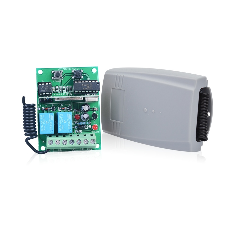 V2 Compatible Universal 2-Channel receiver 12-24V AC//DC 433.92MHz.