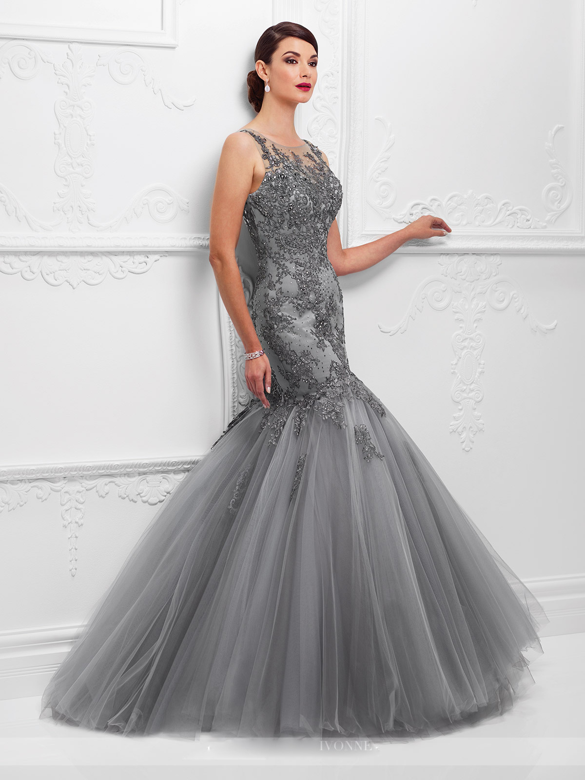 Hot Item Amelie Rocky Silver Grey Applique Beads Mermaid Evening Dress Formal Gown
