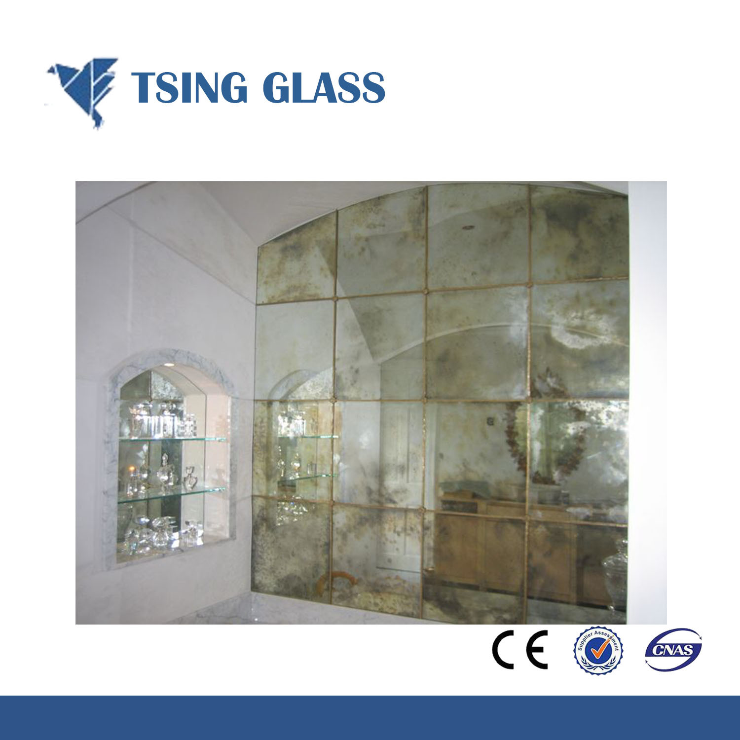 China Frosted Mirror Bathroom Decorative Beveled Edge Etched Pattern Led Antique Glass Silver
