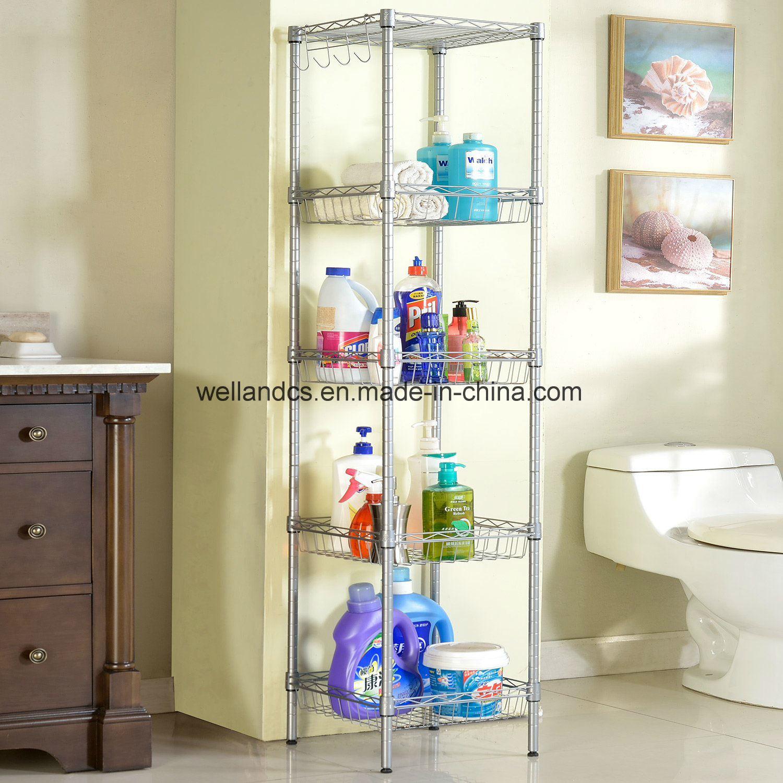 Hot Item Supreme 5 Tiers Corner Rack Unit Bathroom Laundry Basket Shelf Organization