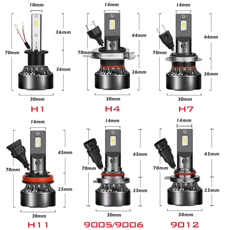 China 2pc Mini H1 Led H7 Z Frytkami 12000lm 72 W Set Lampada H4 Hb3