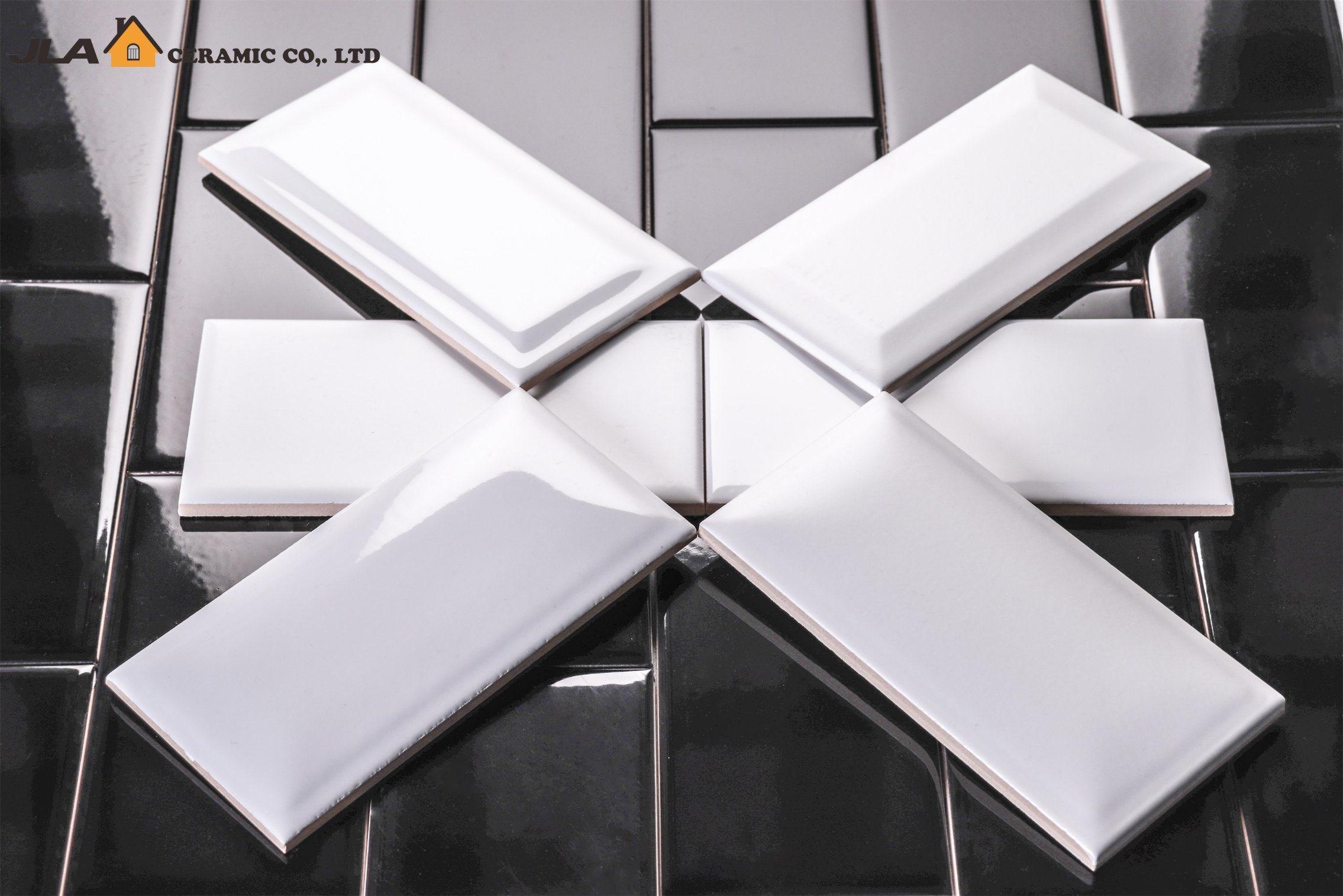 China 4X8/10X20cm White Glossy Bathroom Wall Covering Glossy Glazed ...