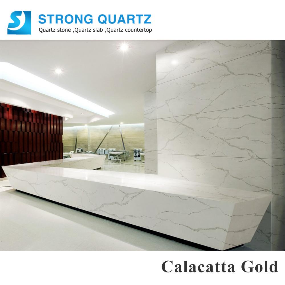 China White Calacatta Gold Artificial Quartz Stone Kitchen ...