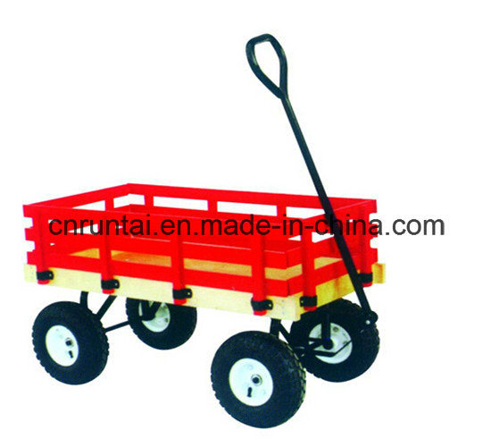 Red Wooden Tray Heavy Duty Garden Trailer Tool Cart