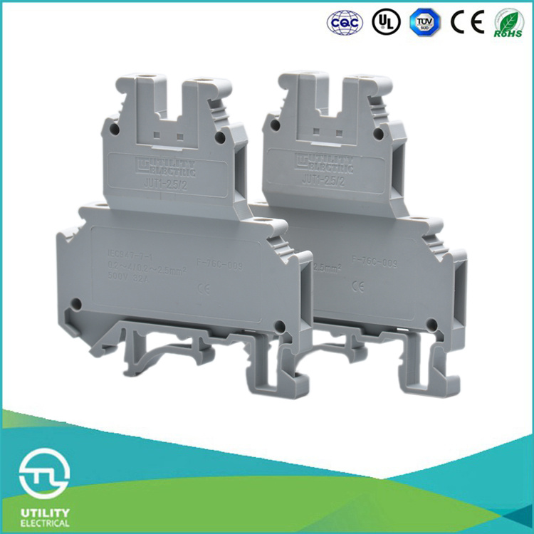 Utl Four Lead Cable Connector Double Layer Screw DIN Rail Connector