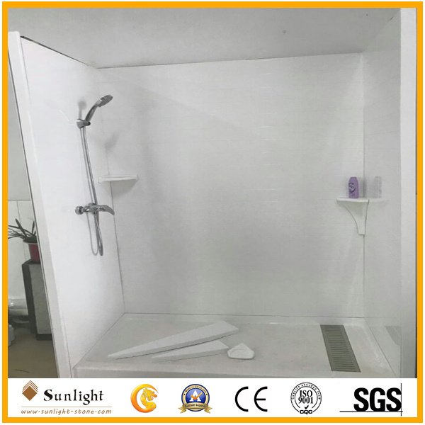 China Customize White Cultured Marble Shower Tub Surrounds For