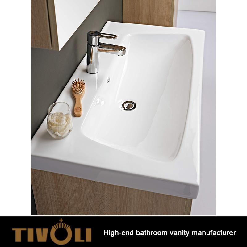 China Solid Surface Bathroom Sink Custom Design One Piece Countertop Tv 0426 Vanity