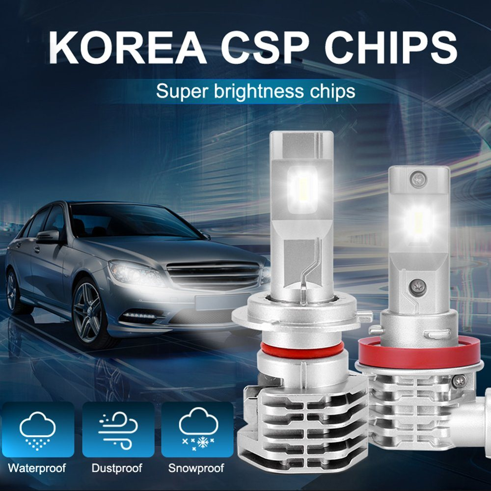 Green-L H11//H8//H9 LED Headlight Bulbs All-in-One Headlight Kits COB Chip 8000LM 6000k White Super Bright Automotive Headlamp