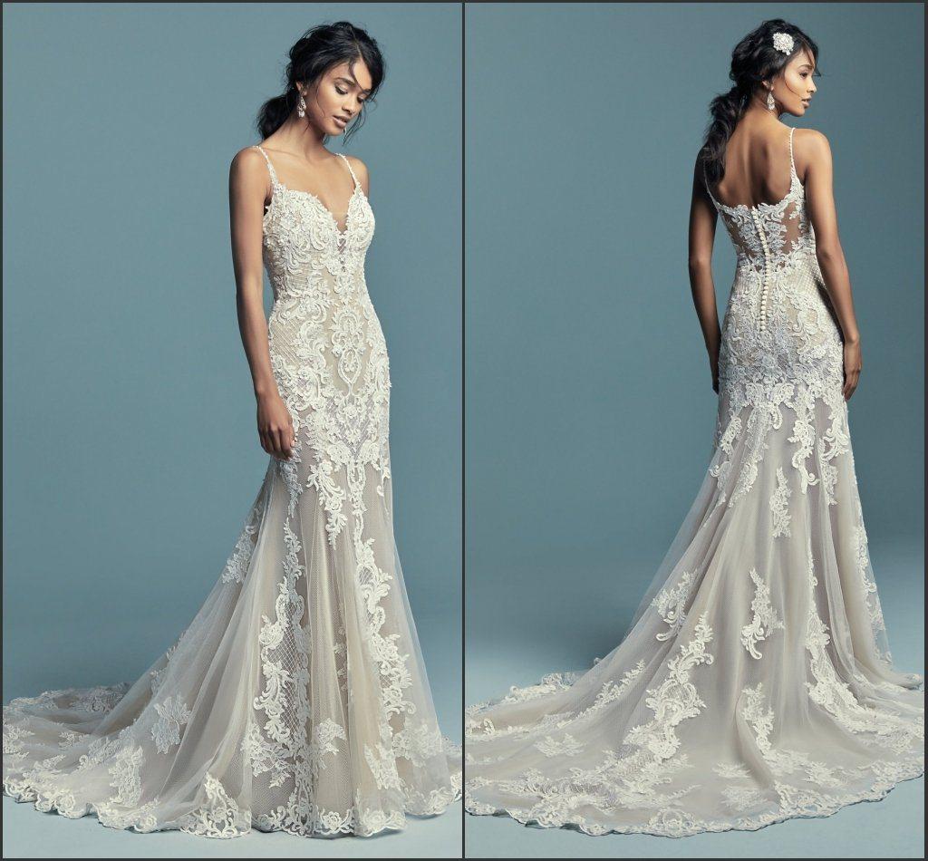 China Spaghetti Straps Wedding Dress Blush Nude Lining Bridal Gown