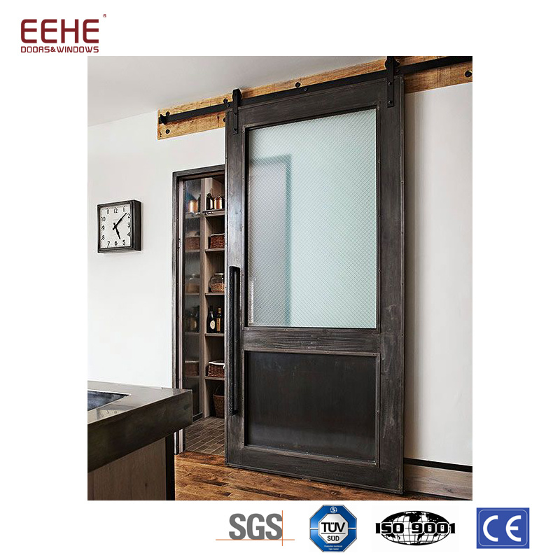China Tempered Frosted Glass Inserted Solid Wood Pocket Doors Wooden Door Design