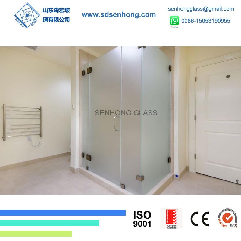 China 38 Acid Etched Swing Sliding Frameless Tempered Glass Shower