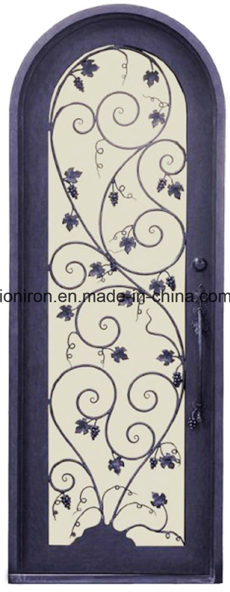 China Double French Full Round Top Floral Grill Iron Door Design ...