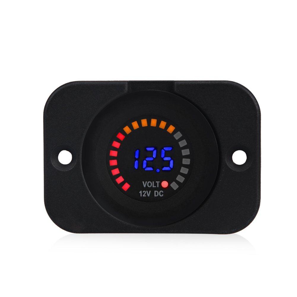 [Hot Item] Waterproof Car Voltmeter Digital Display Voltage Gauge Colorful  LED Volt Meter for Motorcycle Boat Marine Truck ATV UTV Camper Caravan DC