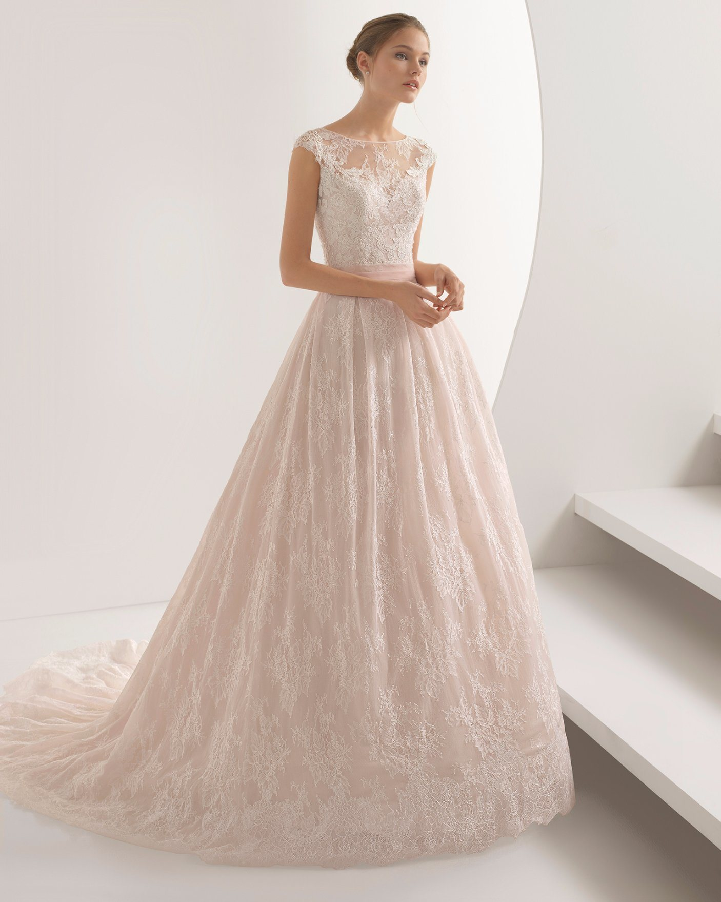 [hot item] custom make boat neck light pink lace wedding dress bridal gown