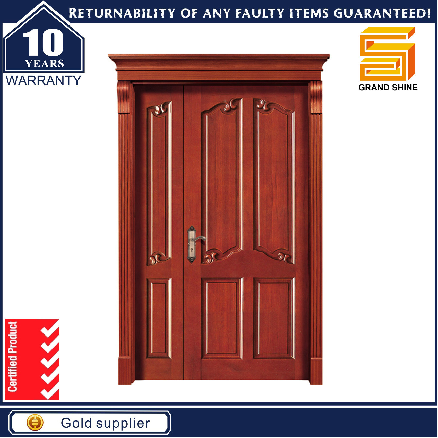 China Exterior /Interior Door Wooden Door Double Sashed Door Designs on