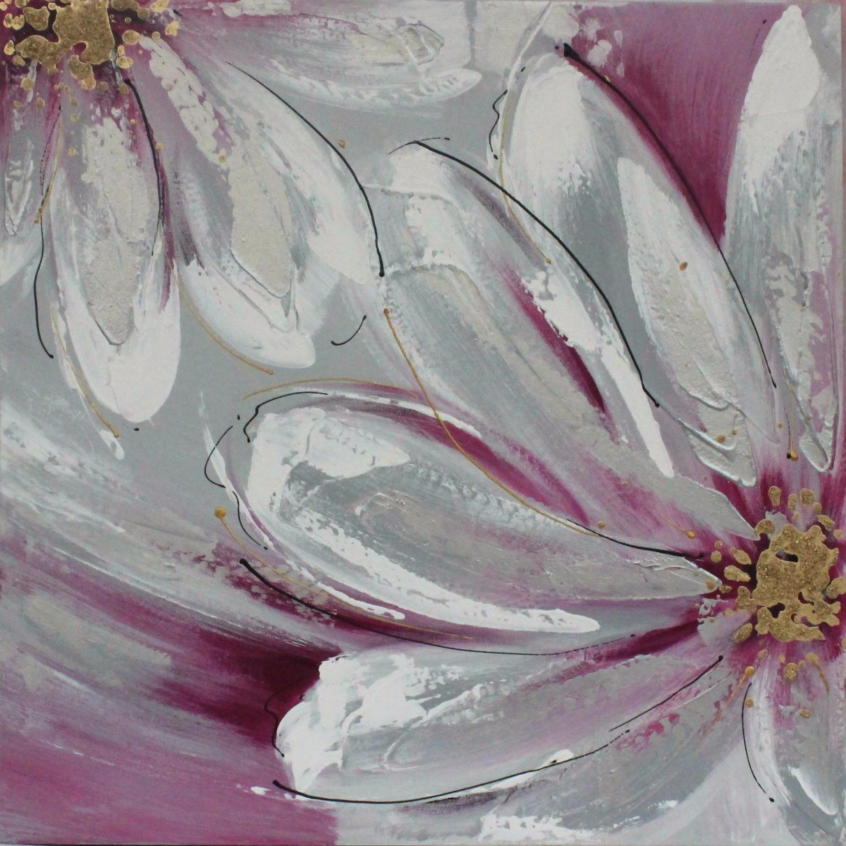 China Beautiful Flower Canvas Oil Painting With High Quality For