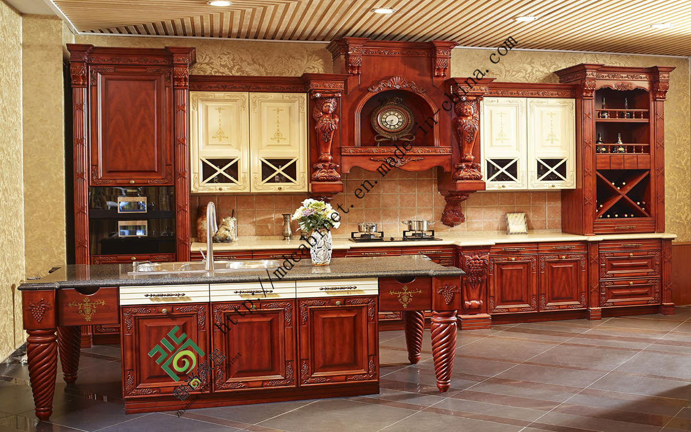 China Framed Solid Wood Kitchen Cabinet (zs-305) - China Kitchen Cabinets, Kitchen Furniture