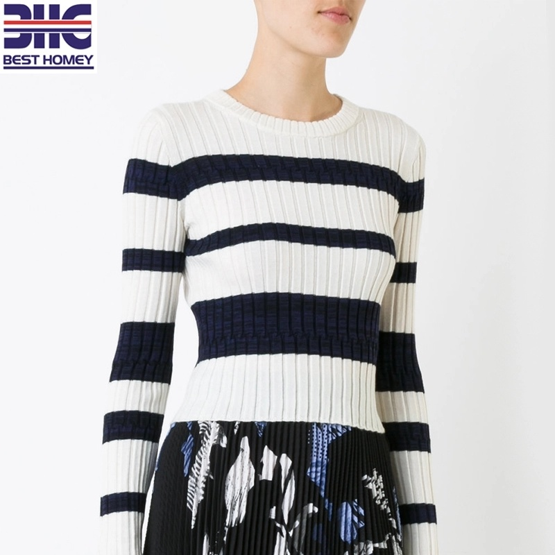 b1af90577 Women's Long Sleeves Crew Neck Top Wool Silk Cashmere Blend Striped Ribbed  Knitted Pullover Sweater Cropped Apparel for Ladies