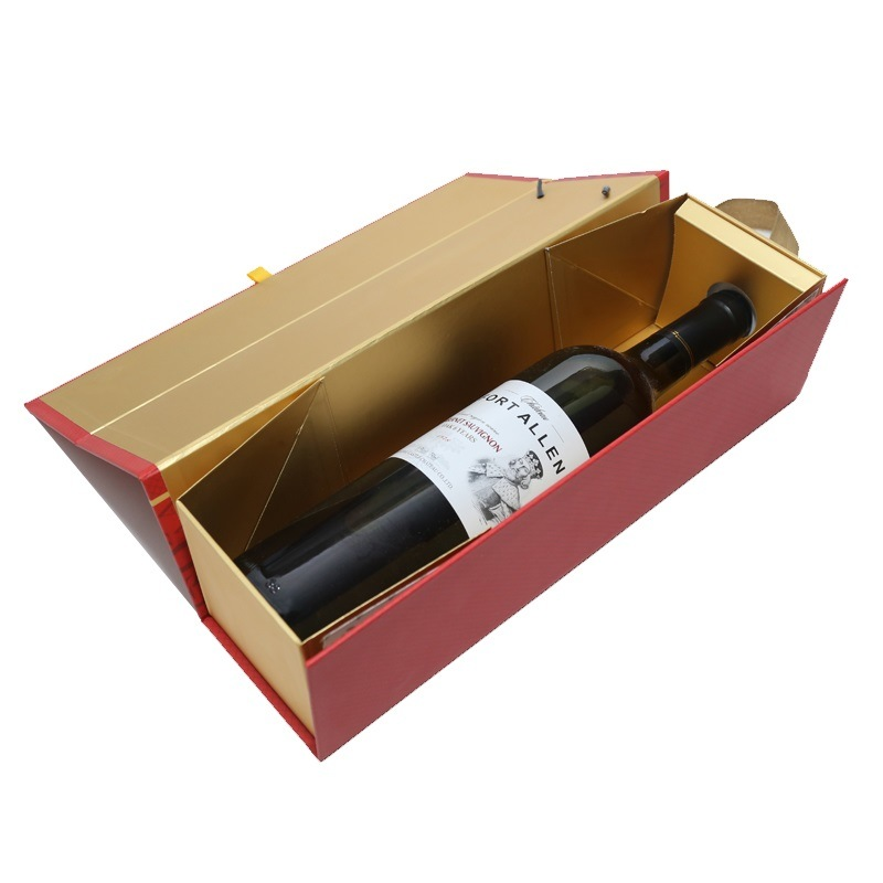 Hot Item Custom Luxury Paper Wine Gift Box Color Printing Wine Packing Box Folding Gift Box Display Box With Ribbon Wholesale