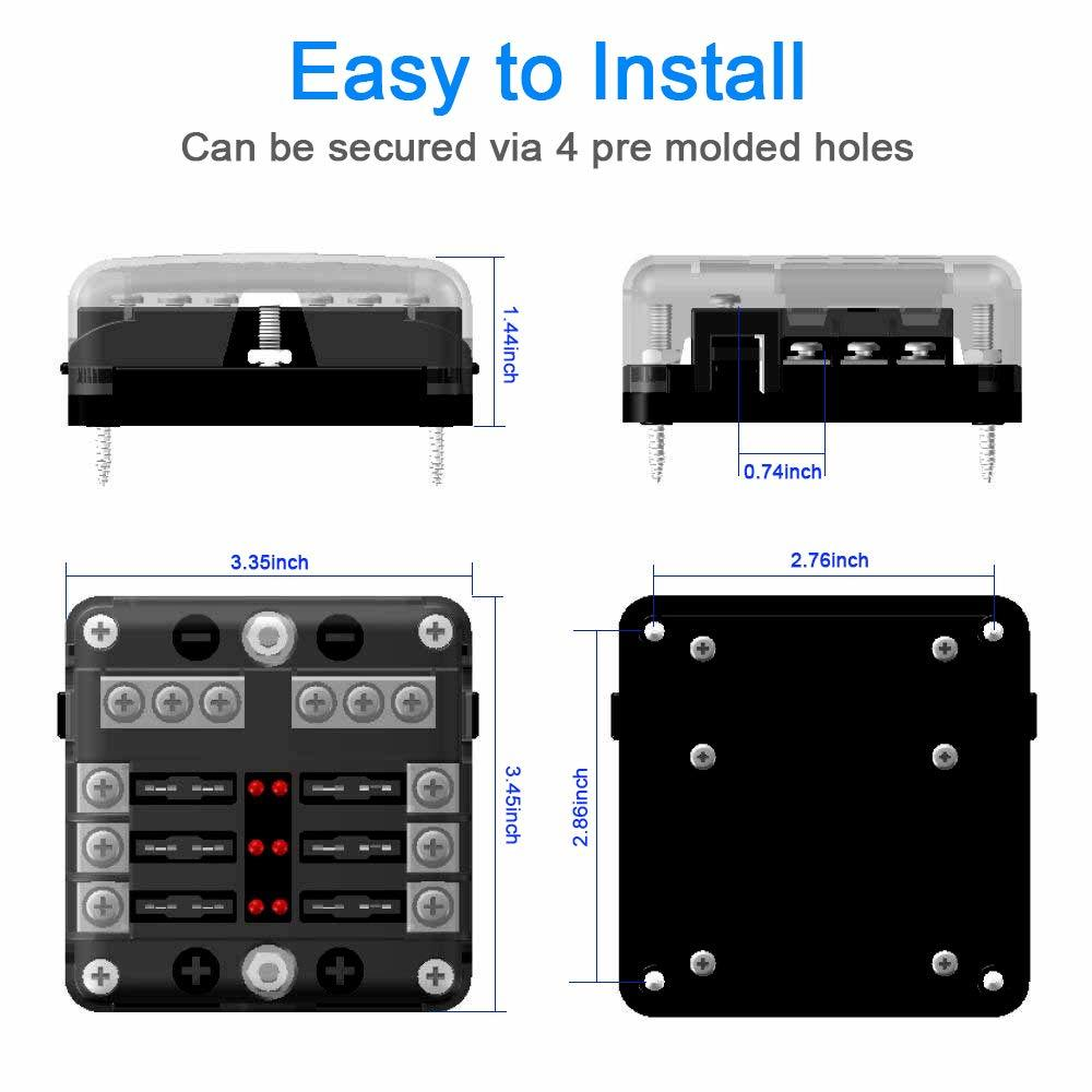 6-way fuse box blade fuse block holder screw nut terminal w/negative bus  led indicator waterproof cover for automotive car marine boat
