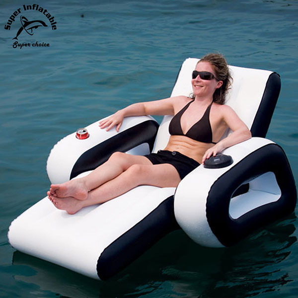 China Customized Logo Printing Luxury Inflatable Lounge Chair Deluxe Pvc Inflatable Floating Pool Lounge Chairs China Inflatable Lounger And Inflatable Lounge Chair Price