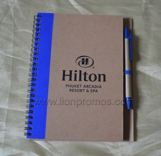 china hilton promotional eco gift recycled paper spiral coil
