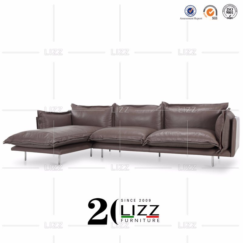 Leather And Fabric Sectional Couch