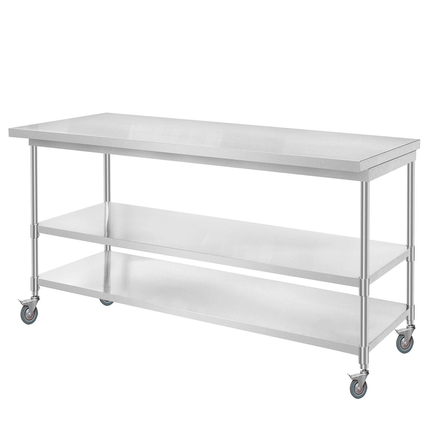 China Commercial Stainless Steel Kitchen Prep Work Table With 4 Casters China Work Table 2 Tier Kitchen Trolley