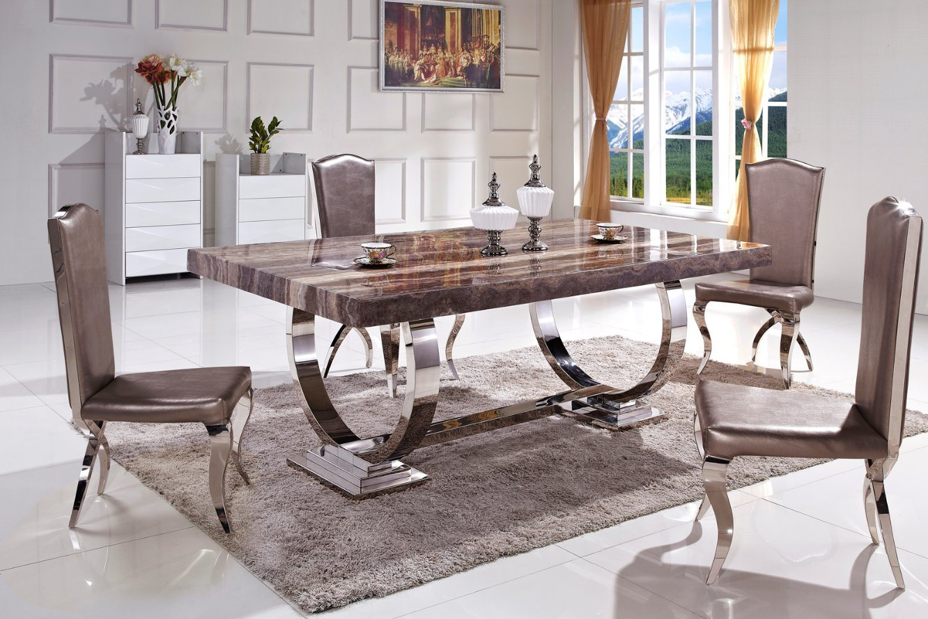 China Hot Sale Stable Metal Legs Marble Top Dining Table
