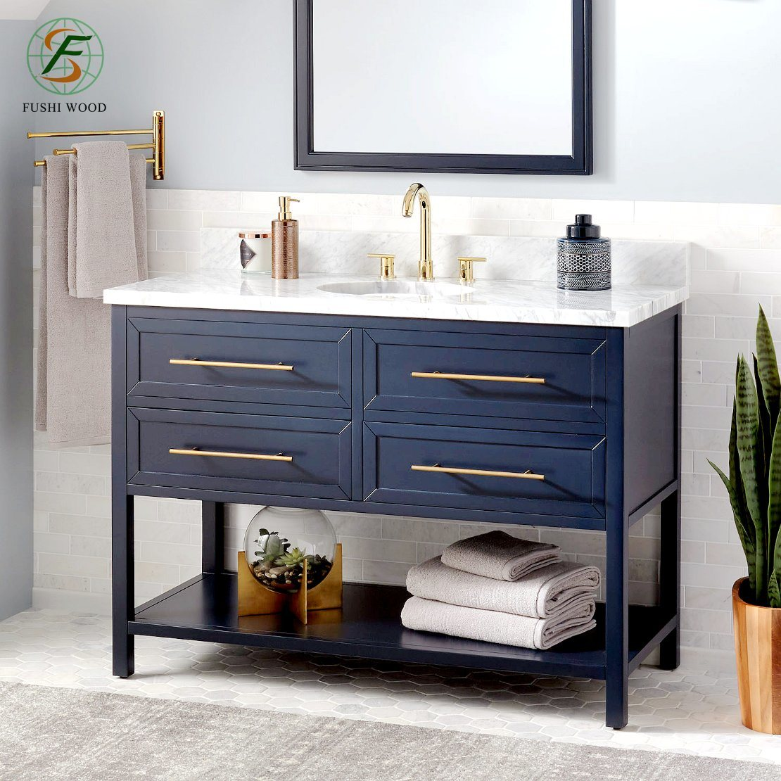 China 48 Inch Wide Solid Wood Lacquer Bathroom Cabinets For Large