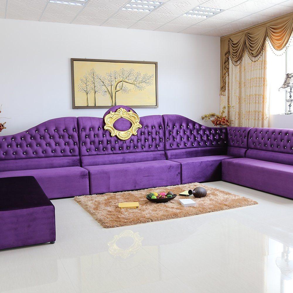 Luxury Purple Living Room Sofa Set