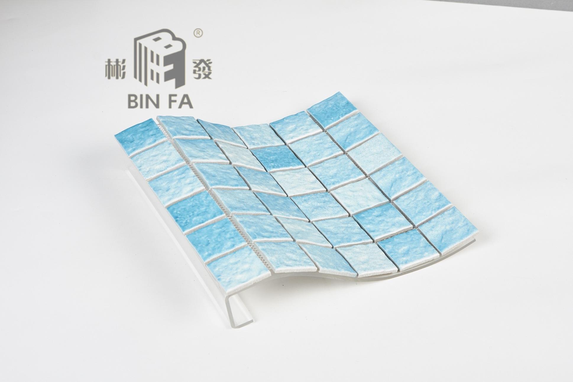 China 48X48mm Light Blue Wave Pattern Porcelain Ceramic Mosaic Tile ...