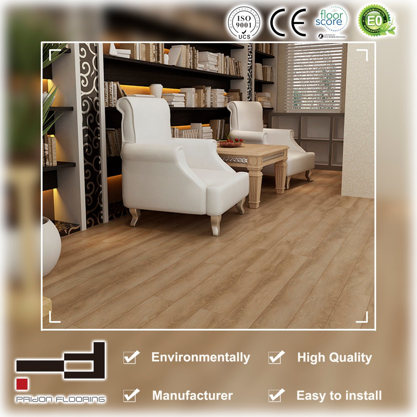 8mm 12mm Eir Light Yellow Oak High Quality Drop Lock Laminate Flooring
