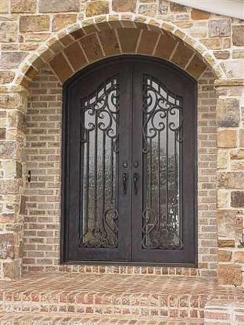 Custom size exterior wrought iron security door