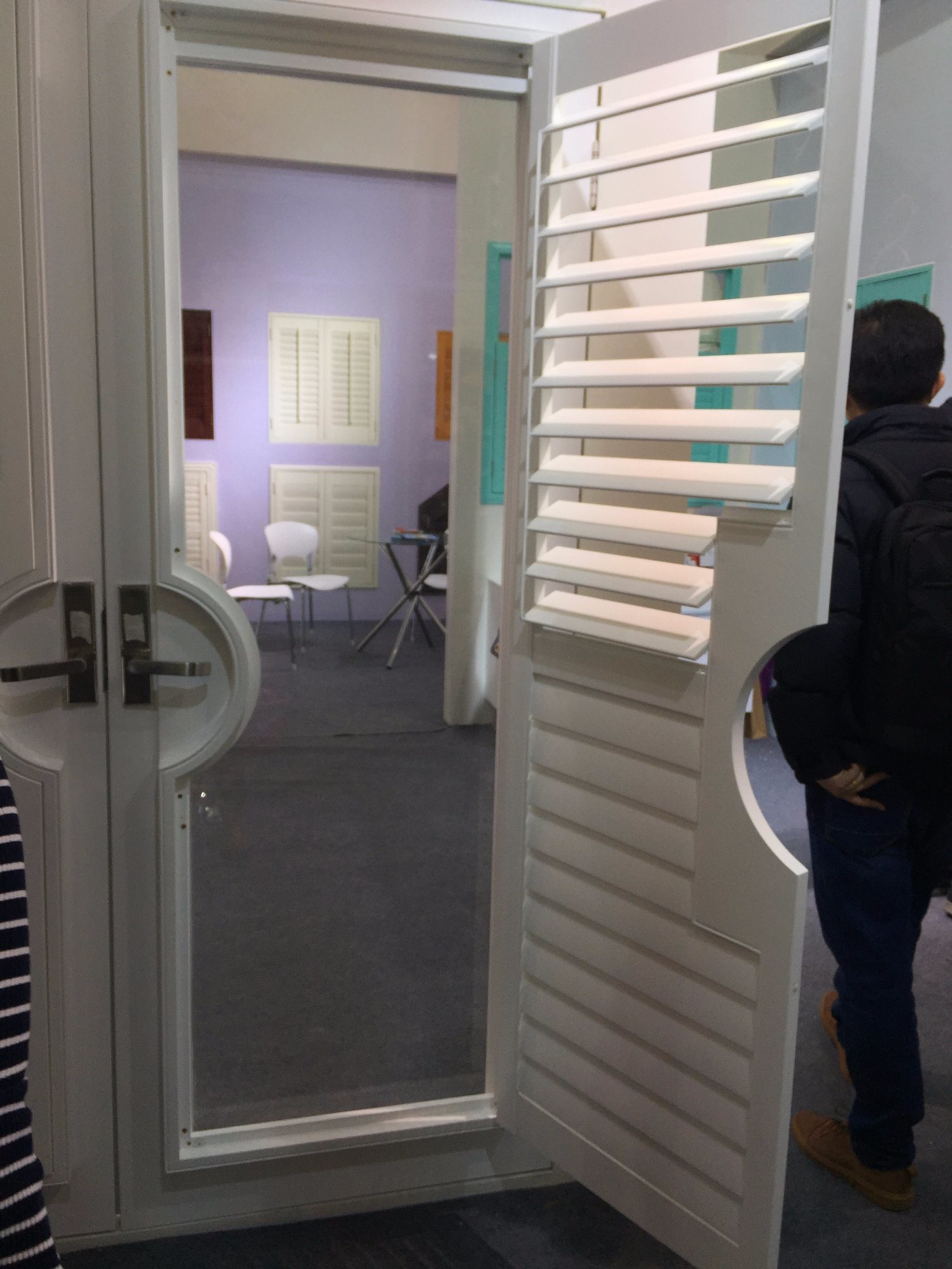 China Plastic French Door Design Adjustable Blinds Plantation Shutters Photos Pictures Made In China Com