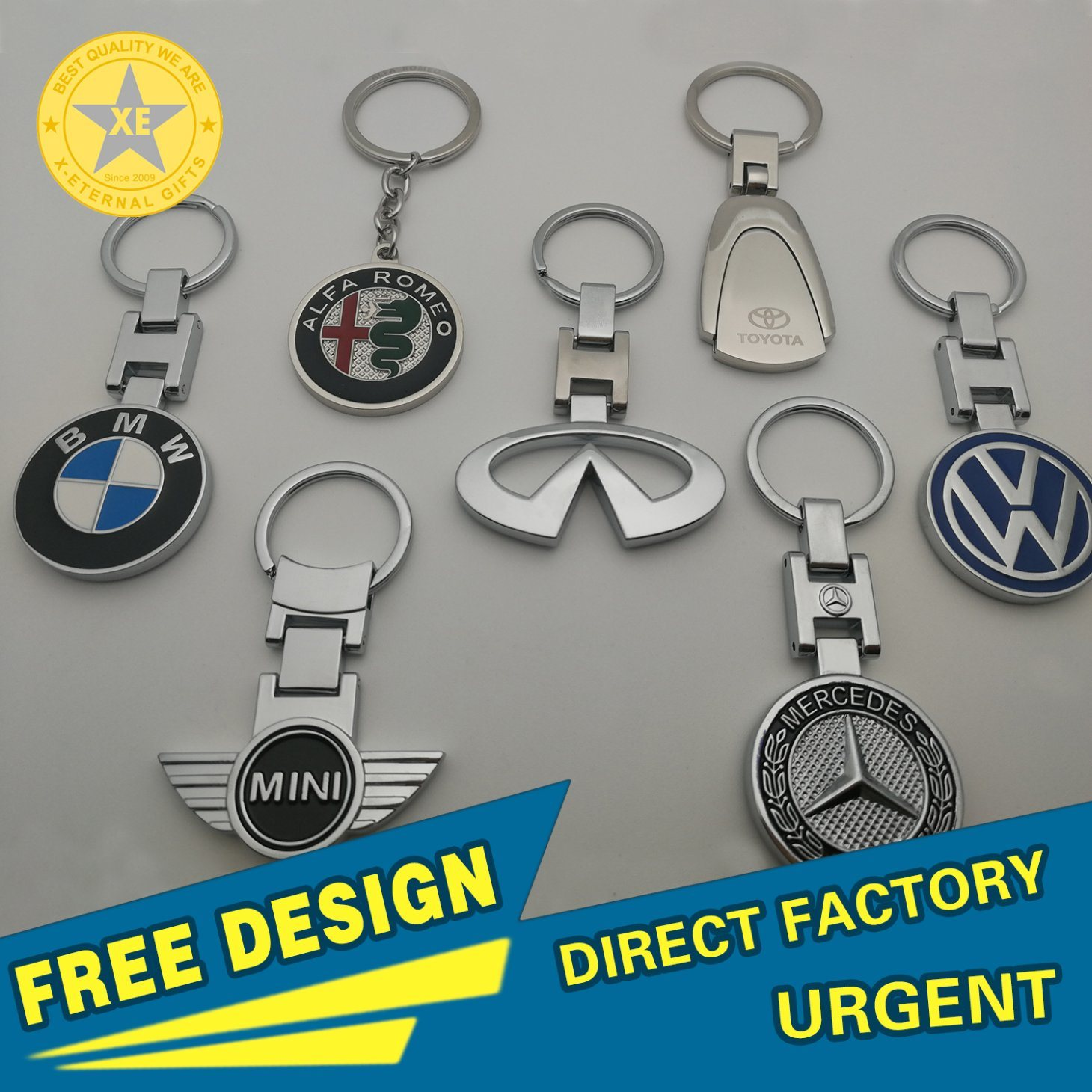 X-Eternal Gifts Wholesale Custom Promotion Metal Car Keyring Mercedes Benz/VW/Toyota/Mini/Infiniti/BMW/Alfa Keychain pictures & photos