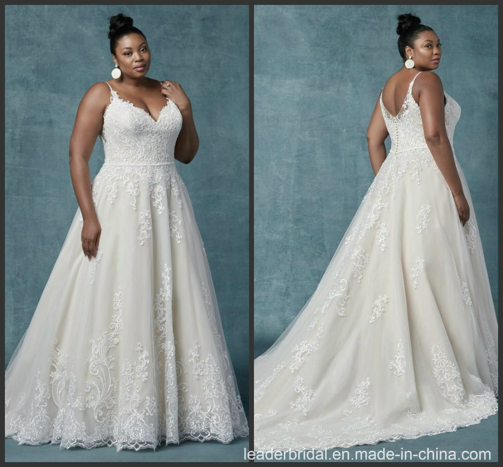 [Hot Item] 2019 Plus Size Bridal Gowns A-Line Tulle Custom Spaghetti Lace  Wedding Dress Ms9030